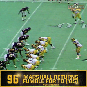 No. 96: @ChicagoBears LB Wilber Marshall returns fumble for TD in 1985 NFC Championship Game (Jan. 12, 1986) #NFL100  ?: NFL 100 Greatest Plays on @NFLNetwork https://t.co/uHezi5XxiM: GREATEST  PLAYS  6 MARSHALL RETURNS  FUMBLE FOR TD ('85)  NFC CHAMPIONSHIP  2 No. 96: @ChicagoBears LB Wilber Marshall returns fumble for TD in 1985 NFC Championship Game (Jan. 12, 1986) #NFL100  ?: NFL 100 Greatest Plays on @NFLNetwork https://t.co/uHezi5XxiM