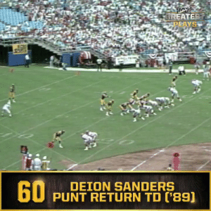 No. 60: @DeionSanders' punt return TD in first NFL game (Sept. 10, 1989) #NFL100  ?: NFL 100 Greatest Plays on @NFLNetwork https://t.co/TIQ4R6rnmd: GREATEST  PLAYS  60  DEION SANDERS  PUNT RETURN TD ('89) No. 60: @DeionSanders' punt return TD in first NFL game (Sept. 10, 1989) #NFL100  ?: NFL 100 Greatest Plays on @NFLNetwork https://t.co/TIQ4R6rnmd
