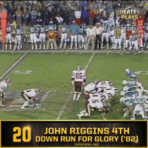 No. 20: John Riggins' fourth down 43-yard TD run in @SuperBowl XVII (Jan. 30, 1983) @Redskins #NFL100  📺: NFL 100 Greatest Plays on @NFLNetwork https://t.co/F4AqdR9e4S: GREATEST  PLAYS  61731 90  ПЛ  40  20  JOHN RIGGINS 4TH  DOWN RUN FOR GLORY ('82)  SUPER BOWL XVII No. 20: John Riggins' fourth down 43-yard TD run in @SuperBowl XVII (Jan. 30, 1983) @Redskins #NFL100  📺: NFL 100 Greatest Plays on @NFLNetwork https://t.co/F4AqdR9e4S