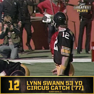 Memes, Nfl, and Super Bowl: GREATEST  PLAYS  LYNN SWANN 53 YD  CIRCUS CATCH ('77]  SUPER BOWL X  12 No. 12: Lynn Swann's 53-yard circus catch in @SuperBowl X (Jan. 18, 1976) @Steelers #NFL100  📺: NFL 100 Greatest Plays on @NFLNetwork https://t.co/ekTWhrwY4O