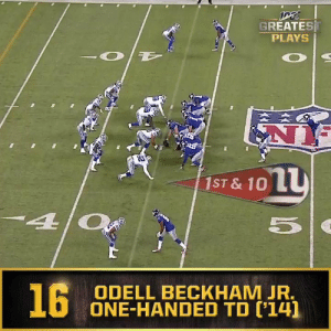 No. 16: @OBJ's one-handed catch (Nov. 23, 2014) #NFL100  📺: NFL 100 Greatest Plays on @NFLNetwork https://t.co/PsQ9xzxbCn: GREATEST  PLAYS  R  1ST & 10 L  40  16  ODELL BECKHAM JR.  ONE-HANDED TD ('14] No. 16: @OBJ's one-handed catch (Nov. 23, 2014) #NFL100  📺: NFL 100 Greatest Plays on @NFLNetwork https://t.co/PsQ9xzxbCn
