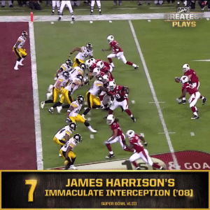 "No. 7: James Harrison's ""Immaculate Interception"" in @SuperBowl XLIII (Feb. 1, 2009) @Steelers #NFL100  📺: NFL 100 Greatest Plays on @NFLNetwork https://t.co/l7N6Rf206T: GREATEST  PLAYS  S  GOA  JAMES HARRISON'S  IMMACULATE INTERCEPTION (08]  7  SUPER BOWL XLIII No. 7: James Harrison's ""Immaculate Interception"" in @SuperBowl XLIII (Feb. 1, 2009) @Steelers #NFL100  📺: NFL 100 Greatest Plays on @NFLNetwork https://t.co/l7N6Rf206T"