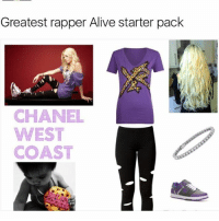 Alive, God, and Memes: Greatest rapper Alive starter pack  CHANEL  WEST  COAST I recently saw a clip of my favorite rapper and D.C. Shoe affiliate Chanel Westcoast being DISRESPECTED by Charlemagne tha god when he claimed that she was wack on my favorite show Ridiculousness. I realized no one is standing for Chanel Westcoast and it's time I stepped up and let the world know she has barz
