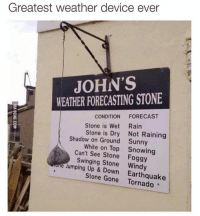 jumping up: Greatest weather device ever  JOHN'S  WEATHER FORECASTING STONE  CONDITION  FORECAST  Stone is Wet Rain  Stone is Dry Not Raining  Shadow on Ground Sunny  White on Top Snowing  Can't see Stone Foggy  tone Swinging Stone Windy  Jumping Up Stone Gone Earthquake