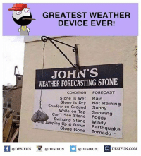 Twitter: BLB247 Snapchat : BELIKEBRO.COM belikebro sarcasm meme Follow @be.like.bro: GREATEST WEATHER  DEVICE EVER!  JOHN'S  WEATHER FORECASTING STONE  CONDITION  FORECAST  Stone is Wet  Rain  Stone is Dry  Not Raining  Shadow on Ground  Sunny  White on Top  Snowing  Can't See Stone  Foggy  e Swinging Windy  Jumping Up & Stone Gone  Earthquake  @DESIFUN  @DESIFUN  @DESIFUN  DESIFUN.COM Twitter: BLB247 Snapchat : BELIKEBRO.COM belikebro sarcasm meme Follow @be.like.bro