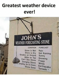 windi: Greatest weather device  ever!  JOHN'S  WEATHER FORECASTING STONE  CONDITION  FORECAST  Stone is Wet Rain  Stone is Dry Not Raining  Shadow on Ground Sunny  White on Top Snowing  Can't See e Swinging Stone Windy  Jumping Up Stone Gone Earthquake