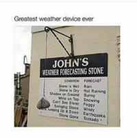 This is definitely in Ireland: Greatest weather device ever  JOHN'S  WEATHER FORECASTING STONE  FORECAST  CONDITION  Stone is We  Rain  Stone is Dry Not Raining  Shadow on Ground Sunny  White on Top Snowing  Cant See Stone Foggy  Swinging Stone Windy  kiemping Up Down Earthquake  Stone Gone This is definitely in Ireland
