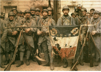 Tumblr, Blog, and French: greatwar-1914:  A battle-hardened French platoon proudly displays their torn flag.