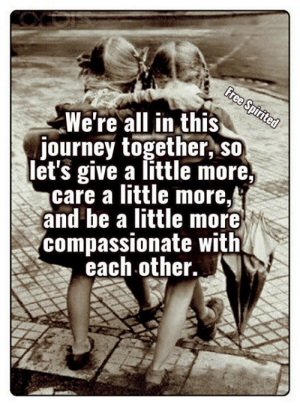 Journey, Memes, and 🤖: Gree Spirited  We're all in this  journey together, so  let's give a little more,  care a little more,  and be a little more  compassionate with  each other.