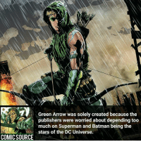 Batman, Disney, and Facts: Green Arrow was solely created because the  publishers were worried about depending too  much on Superman and Batman being the  stars of the DC Universe.  COMIC SOURCE Now they got tons to rely on ________________________________________________________ WallyWest GreenLantern WonderWoman JusticeLeague DC Superman Batman Supergirl DCEU Joker Flash Cyborg DarthVader Aquaman Robin MartianManhunter Deadpool Like Spiderman Rebirth DCRebirth Like4Like Facts Comics BvS StarWars Marvel CW Disney DCComics
