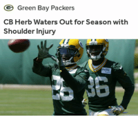 😒: Green Bay Packers  CB Herb Waters Out for Season with  Shoulder Injury  bellin 😒
