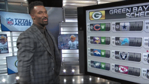 Memes, Nfl, and Access: GREEN BAY  SCHED  TOTAL  ACCESS  WK  NFL  WK  @CW @  9  WK  1  WK  WK  VS  VS  10  WK  VS  WK  12  WK  VS  WK  13 The @Packers will start 4-0!?  @89JonesNTAF predicts Green Bay's 2019 record. 😏 https://t.co/6NLrLsXjwE