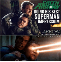 Memes, Superman, and Arrow: GREEN  DOING HIS BEST  SUPERMAN  IMPRESSIOM  ARROV  IG I DOC. MARVEL. UNITE  M A N O F T E E Will Oliver Kill Adrian !? 😱 I'm so HYPED for Next Weeks Arrow Season 5 Finale ! We're getting TeamArrow VS Team Prometheus ! 🙌🏽 Everyone is coming back… DeathStroke ( SladeWilson) and CaptainBoomerang ! And we'll be getting some Legendary Fights Like… BlackSiren VS BlackCanary, NyssaAlGhul VS TaliAlGhul and of course OliverQueen VS AdrianChase ! I wonder what will be better…The GreenArrow Finale or … TheFlash ? 🤔 ArrowSeason5 🏹 DCTV