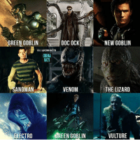 Who is the best Spider-Man villain on the big screen? Doc Ock from Spider-Man 2 take a my vote — marvel Spiderman spiderman2 spiderman3 amazingspiderman amazingspiderman2 spidermanhomecoming greengoblin venom tomholland avengers captainamerica ironman thor deadpool flash spiderman harryosborn batman dc marvel mcu electro comics hulk docock venom lizard sandman vulture: GREEN GOBLIN  DOC OCK  NEW GOBLIN  IG I @CINFACTS  CINEMA  FACTS  SANDMAN  VENOM  THE LIZARD  ELECTRO  ENOLINVULTURE  GREEN GOBLIN Who is the best Spider-Man villain on the big screen? Doc Ock from Spider-Man 2 take a my vote — marvel Spiderman spiderman2 spiderman3 amazingspiderman amazingspiderman2 spidermanhomecoming greengoblin venom tomholland avengers captainamerica ironman thor deadpool flash spiderman harryosborn batman dc marvel mcu electro comics hulk docock venom lizard sandman vulture