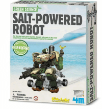 robot: GREEN SCIENCE  SALM-POWERED  ROBOT  robot mini vehicle together, then add salty Water to the power  compartment and ott it goes! No batteries tequired! It's amazing!  st Gr  E54  FOR AGES OVER 8  A WARNING:  CHOKING HAZARD-Small parts.  HIM  Not for Children under 3 Tears.