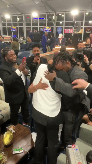Family, Memes, and Steelers: GREEN Surrounded by family. What a moment.   The newest member of the @steelers... @_Dbush11! 🙌 #NFLDraft https://t.co/Gf4sJ0Gsg3