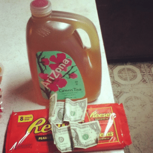 "Grandma, Money, and Shoes: Green Tea cafemusaiin:  samsvirtuallife:  positlvedreamer:  cafemusaiin:  i gave my grandma two dollars to get me ""an arizona tea and a Reese's cup"" and she brought me this and gave me my money back  this perfectly describes grandmas   My grandma would have given me a five and thrown in a new pair of shoes too.  im sorry i wasnt aware that this was the goddamn grandma olympics"