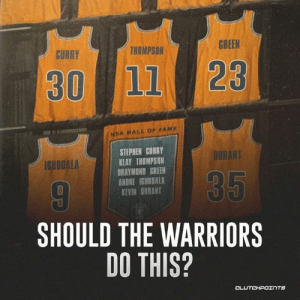 Draymond Green, Klay Thompson, and Stephen: GREEN  THOMPSON  CURRY  30  11 23  NRA HALL OF FAME  STEPHEN CURRY  KLAY THOMPSON  DRAYMOND GREEN  ANDRE IGUODALA  KEVIN BURANT  DURANT  IGUODALA  35  SHOULD THE WARRIORS  DO THIS?  CLUTCHPOINTS  OP Will 🏆🏆🏆 in 5 years be enough to immortalize this Warriors dynasty? — @WarriorsNationCP