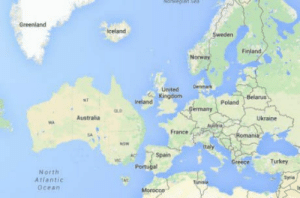 Australia, Europe, and France: Greenland  celand  Finland  UnitedDem  Kingdom  Ireland  Poland  ermany  Australia  Ukraine  France  omani  Spain  Greece  Turkey  Portugal  North  Atlantic  Ocean  9  Syria  Mor Europe right now