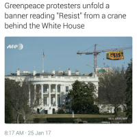 "Memes, Nothing to Lose, and 🤖: Greenpeace protesters unfold a  banner reading ""Resist"" from a crane  behind the White House  RESIST  SAUL LOEB/AFP  8:17 AM 25 Jan 17 ""It is our duty to fight for our freedom. It is our duty to win. We must love each other and support each other. We have nothing to lose but our chains."" - AssataShaku HereToStay Undocumented UndocumentedAndUnafraid Resist immigration migrant bridgesnotwalls Refugee Resist blacklivesmatter Muslim lgbtqrights humanrights"