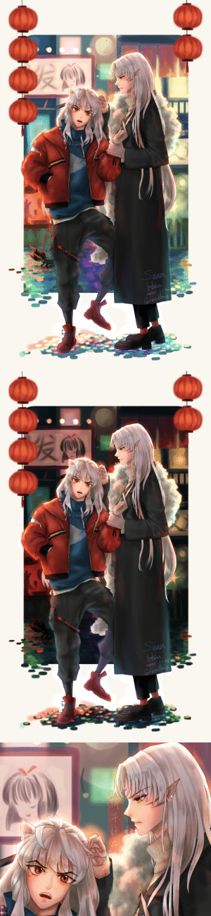 "greenpony:  Happy Chinese New Year~So I took part in a ""New Year's Eve-24h-SesshoumaruXInuyasha's post"" on the app Lofter, where we recruited 24 artists to each draw or write something about this otp, and post one on lofter every hour in this day. And this is my piece for this event. It's not like a modern-day au, it's just an imagination of both of them living through so many years together, and all of the human friends had past away, what they had left are each other. Maybe their relationship is much much better after hundreds of years.(Sorry for the bad English writing.): greenpony:  Happy Chinese New Year~So I took part in a ""New Year's Eve-24h-SesshoumaruXInuyasha's post"" on the app Lofter, where we recruited 24 artists to each draw or write something about this otp, and post one on lofter every hour in this day. And this is my piece for this event. It's not like a modern-day au, it's just an imagination of both of them living through so many years together, and all of the human friends had past away, what they had left are each other. Maybe their relationship is much much better after hundreds of years.(Sorry for the bad English writing.)"
