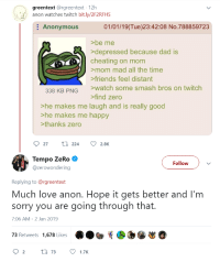 greentext: greentext @rgreentext 12h  anon watches twitch bit.ly/2F2RFHS  : Anonymous  01/01/19(Tue)23:42:08 No.788859723  >be me  depressed because dad is  cheating on mom  mom mad all the time  friends feel distant  watch some smash bros on twitch  find zero  338 KB PNG  >he makes me laugh and is really good  >he makes me happy  >thanks zero  Tempo ZeRo  @zerowondering  Follow  Replying to@rgreentext  Much love anon. Hope it gets better and I'm  sorry you are going through that.  7:06 AM-2 Jan 2019  73 Retweets 1,678 Likes