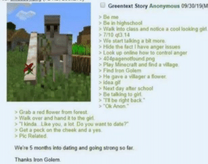 "awesomacious:  Don't know whether it was already posted here but didn't find it: Greentext Story Anonymous 09/30/19(M  Be me  Be in highschool  Walk into class and notice a cool looking girl  7/10 qt3.14  We start talking a bit more  Hide the fact I have anger issues  Look up online how to control anger  404pagenotfound.png  >Play Minecraft and find a village  Find Iron Golem  He gave a villager a flower  idea gif  >Next day after school  Be talking to girl  Tl be right back""  ""Ok Anon  Grab a red flower from forest  Walk over and hand it to the girl.  1 kinda. .Like you, a lot Do you want to date?""  Get a peck on the cheek and a yes.  >Pic Related  We're 5 months into dating and going strong so far  Thanks Iron Golem awesomacious:  Don't know whether it was already posted here but didn't find it"
