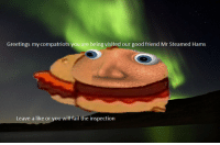 <p>I don&rsquo;t want any damn steamed hams</p>: Greetings my compatriots you are being visited our good friend Mr Steamed Hams  Leave a like or you will fail the inspection <p>I don&rsquo;t want any damn steamed hams</p>