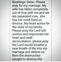 Greetings Sister Please Pray for My Marriage My Wife Has