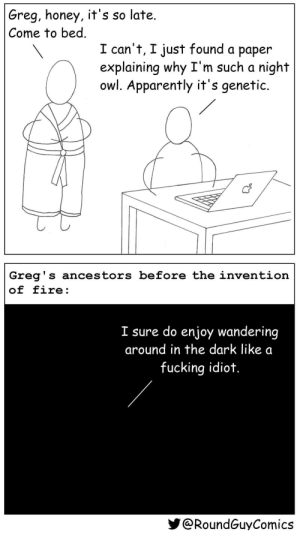 Night Owls [OC]: Greg, honey, it's so late.  Come to bed.  I can't, I just found a paper  explaining why I'm such a night  owl. Apparently it's genetic.  Greg's ancestors before the invention  of fire:  I sure do enjoy wandering  around in the dark like a  fucking idiot.  @RoundGuyComics Night Owls [OC]