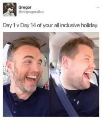 😂 😂 😂 😂: Gregor  @mrgregorallan  Day 1 v Day 14 of your all inclusive holiday. 😂 😂 😂 😂