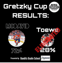 Anaconda, Finals, and Memes: Gretzky Cup  DISCUSSION  ONHL DISCUSSION  RESULTS:  MCDAVID  ToewS  /100  72%  (28 %  Presented by: Bandits Goalie So  EANDITS Connor McDavid defeats Jonathan Toews handily, as he heads to the semi-finals, where we will face Ovechkin or Price. • Check out banditsgoaltending Ovechkin Price gretzkycup nhldiscussion