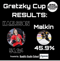 Finals, Memes, and National Hockey League (NHL): Gretzky Cup  NHL  DISCUSSION  ONHL DISCUSSION  RESULTS:  KARLSSON Malkin  5  54。1%  45.9%  Presented by: Bandits Goalie So  BANDITS Erik Karlsson is headed to the Gretzky Cup semi-finals, where he will face the man he faced in the Stanley Cup semi-final, Sidney Crosby! • Check out @banditsgoaltending • gretzkycup Malkin Penguins Pittsburgh Karlsson Ottawa Senators