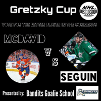 Anaconda, Memes, and National Hockey League (NHL): Gretzky Cup  NHL  OISCUSSION  ONHLDISCUSSION  VOTE FOR THE BETTER PLAYER IN THE COMMENTS  MCDAVID  ONDA  m/100  SEGUIN  Presented by: Bandits Goalie Sc  BANDITS The GretzkyCup continues with McDavid vs Seguin! Vote the better player in the comment section! Tag your buds! • Check out the best goalie page on IG, @banditsgoaltending • McDavid Seguin Oilers Stars