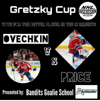 Memes, National Hockey League (NHL), and Goal: Gretzky Cup  NHL  OISCUSSION  ONHLDISCUSSION  VOTE FOR THE BETTER PLAYER IN THE COMMENTS  OVECHKIN  OVECHKIN  CCM  PRICE  Presented by: Bandits Goalie Sc  BANDITS The greatest goal scorer in the world, or the greatest goalie in the world? It's your call! OVECHKIN or PRICE ! • Check out @banditsgoaltending nhldiscussion gretzkycup