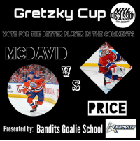 Anaconda, Finals, and Head: Gretzky Cup  NHL  OISCUSSION  ONHLDISCUSSION  VOTE FOR THE BETTER PLAYER IN THE COMMENTS  MCDAVID  CCM  m/100  PRICE  Presented by: Bandits Goalie Sc  BANDITS WHO SHOULD HEAD TO THE GRETZKYCUP FINALS!?! Tag all your hockey buds to help your pick win! MCDAVID or PRICE • Check out @banditsgoaltending • NHLDiscussion Vote Poll Canadiens Oilers