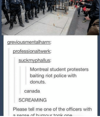 canada seems so fun: grevious mentalharm:  professionaltwerk:  suckmy phallus:  Montreal student protesters  baiting riot police with  donuts.  Canada  SCREAMING  Please tell me one of the officers with  a conco of bi umour took one canada seems so fun
