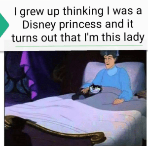 Disney princess: grew up thinking I was a  Disney princess and it  turns out that I'm this lady Disney princess