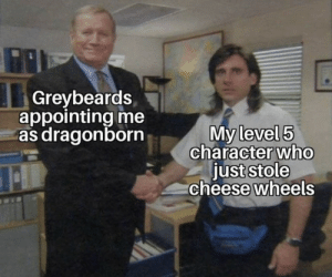 .: Greybeards  appointing me  as dragonborn  My level 5  character who  just stole  cheese wheels .