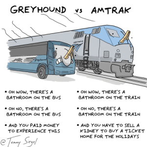 Money, Wow, and Home: GREYHOUND vs AMTRAK  AMTRAK  Greyhaunda  OH WOW, THERE'S A  BATHROOM ON THE BUS  OH WOW, THERE'S A  BATHROOM ON THE TRAIN  ·OH NO, THERE'S A  BATHROOM ON THE BUS  OH NO, THERE'S A  BATHROOM ON THE TRAIN  AND YOU PALD MONEY  TO EXPERLENCE THIS  AND YOU HAVE TO SELL A  KLDNEY TO BUY A TICKET  HOME FOR THE HOLLDAYS Greyhound vs Amtrak: a guide [OC]