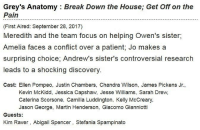 INFO ON EPISODE ONE OF SEASON 14 😍 https://t.co/jzTdC0v8KD: Grey's Anatomy : Break Down the House; Get Off on the  Pain  (First Aired: September 28, 2017)  Meredith and the team focus on helping Owen's sister,  Amelia faces a conflict over a patient; Jo makes a  surprising choice, Andrew's sister's controversial research  leads to a shocking discovery  Cast: Ellen Pompeo, Justin Chambers, Chandra Wilson, James Pickens Jr.,  Kevin McKidd, Jessica Capshaw, Jesse Williams, Sarah Drew,  Caterina Scorsone, Camilla Luddington, Kelly McCreary  Jason George, Martin Henderson, Giacomo Gianniotti  Guests:  Kim Raver, Abigail Spencer, Stefania Spampinato INFO ON EPISODE ONE OF SEASON 14 😍 https://t.co/jzTdC0v8KD