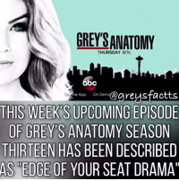 "Tag Friends! 😱😬 + Fact: This week's upcoming episode of grey's anatomy season thirteen has been described as ""edge of your seat drama""! 😬😱 + - greysanatomy greys greysfacts greysabc greysonaplane: GREYSANATOMY  THURSDAY 817c  App On Demo  THIS MEEKDS UPCOMING EPISODE  OF GREYS ANATOMY SEASON  THIRTEEN HAS BEEN DESCRIBED  AS EDGE OF YOUR SEAT DRAMA"" Tag Friends! 😱😬 + Fact: This week's upcoming episode of grey's anatomy season thirteen has been described as ""edge of your seat drama""! 😬😱 + - greysanatomy greys greysfacts greysabc greysonaplane"