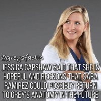 Friends, Future, and Memes: @greysfactts  JESSICA CAPSHAW SAID THAT SHE IS  HOPEFUL AND RECKONS THAT SARA  RAMIREZ COULD POSSIBLY RETURN  TO GREYS ANATOMY IN THE FUTURE Tag Friends! ❤️💃🏻 + Fact: Jessica Capshaw said that she is hopeful and reckons that Sara Ramierez could possibly return to grey's anatomy in the future! ❤️💃🏻 + - greysanatomy greys greysfacts greysabc arizonarobbins callietorres