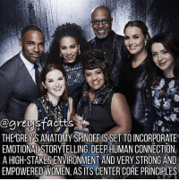 Friends, Memes, and Grey's Anatomy: @greysfactts  THE GREY SANATOMYASPINOFFIS SET TO INCORPORATE  EMOTIONAL STORYTELLING, DEEP HUMAN CONNECTION  A HIGH-STAKES ENVIRONMENT AND VERY STRONG AND  EMPOWERED WOMEN, AS ITS CENTER CORE PRINCIPLES Tag Friends! 💃🏻🍷 + Fact: The grey's anatomy spinoff is set to incorporate emotional storytelling, deep human connection, a high-stakes environment and very strong and empowered women, as its center core principles - like Grey's Anatomy! 💃🏻🍷+ - greysanatomy greys greysfacts greysabc