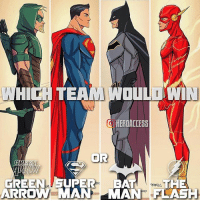 Batman, Dope, and Memes: GRI  GREEN  ARRO  HEROACCE55  PER BAT THE  MAN MANE FLASH Now this is gonna be a good one.😈 Superman & Green Arrow VS Batman & The Flash.👏 Which team do you think would win?? ~ Lopro⚡️ (dope artwork by @johnnylighthands )