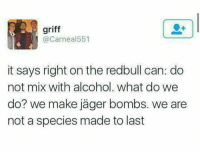 Griff: griff  @Carnea 551  it says right on the redbull can: do  not mix with alcohol. What do we  do? we make jager bombs. we are  not a species made to last