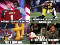 Nfl, Griffin, and Playoffs: GRIFFIN III  INJUREDIN HIS FIRST CAREER  RGIII WAS DRAFTED IN THE NFL  PLAYOFF GAME  RGE  BEFORE DERRICK ROSECAME  AND RETURNED  BACK  ONFL MEMES