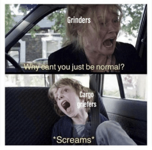 A meme every grinder can relate to: Grinders  Why eant you just be normal?  Cargo  griefers  *Screams* A meme every grinder can relate to