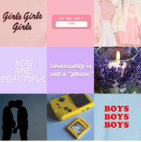 Beautiful, Girls, and Target: Grls girls  Girls  YOU ARE TRULY  PURE  YOU bisexuality is  ARE  BEAUTIFUL nota phase  BOYS  BOYS  BOYS thatgayshitmoodboards:  bisexual hufflepuff aesthetic!