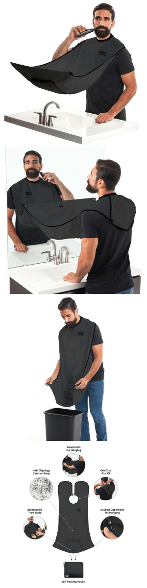 Beard, Tumblr, and Blog: Grommets  for Hanging  Hair Clippings  Catcher Body  One Size  Fits All  Accessories  Tray Table  Suction Cup Hook:s  for Hanging  Self Packing Pouch novelty-gift-ideas:  Beard Bib